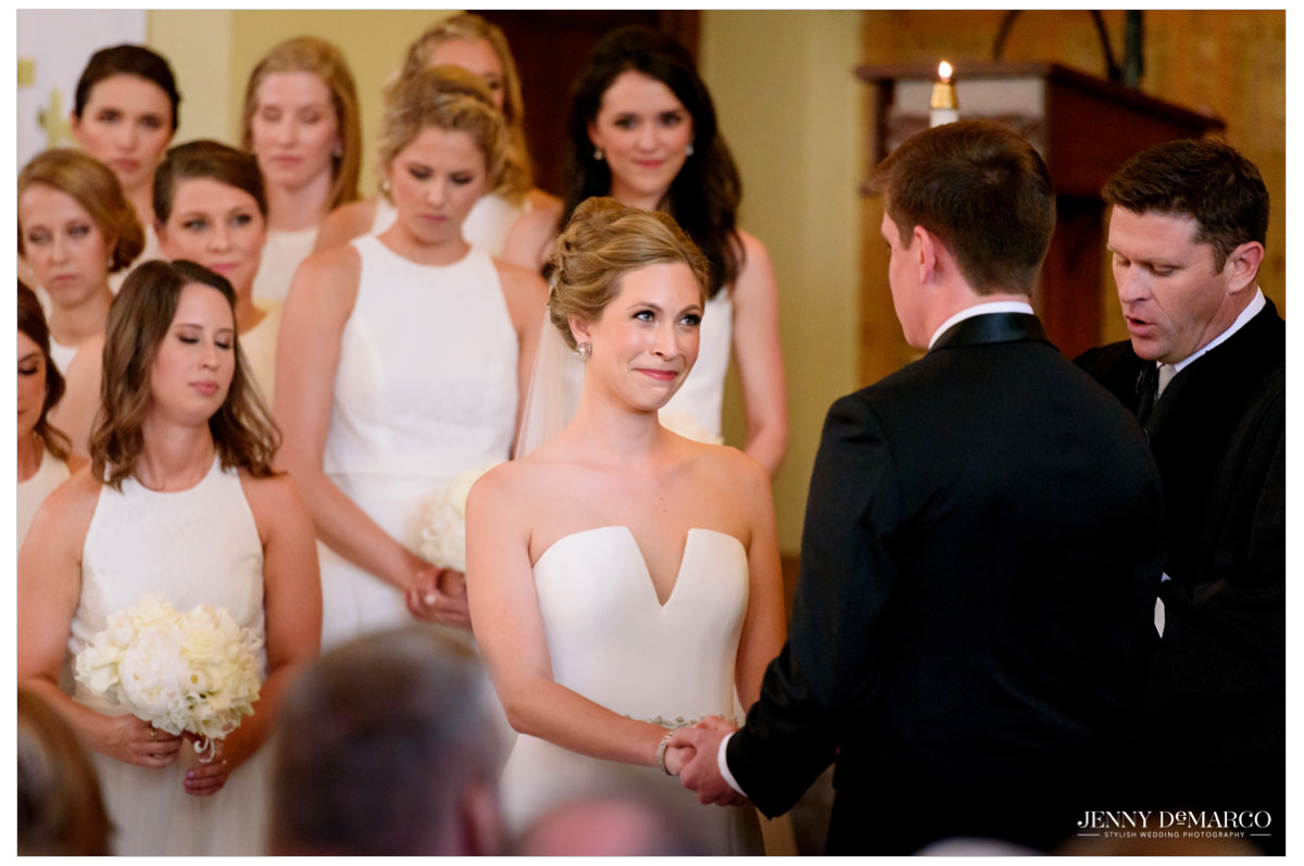 Bride looks longingly at her groom.