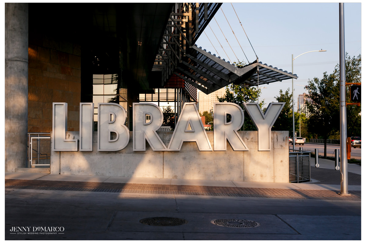 The reception was held at the Austin Public Library.