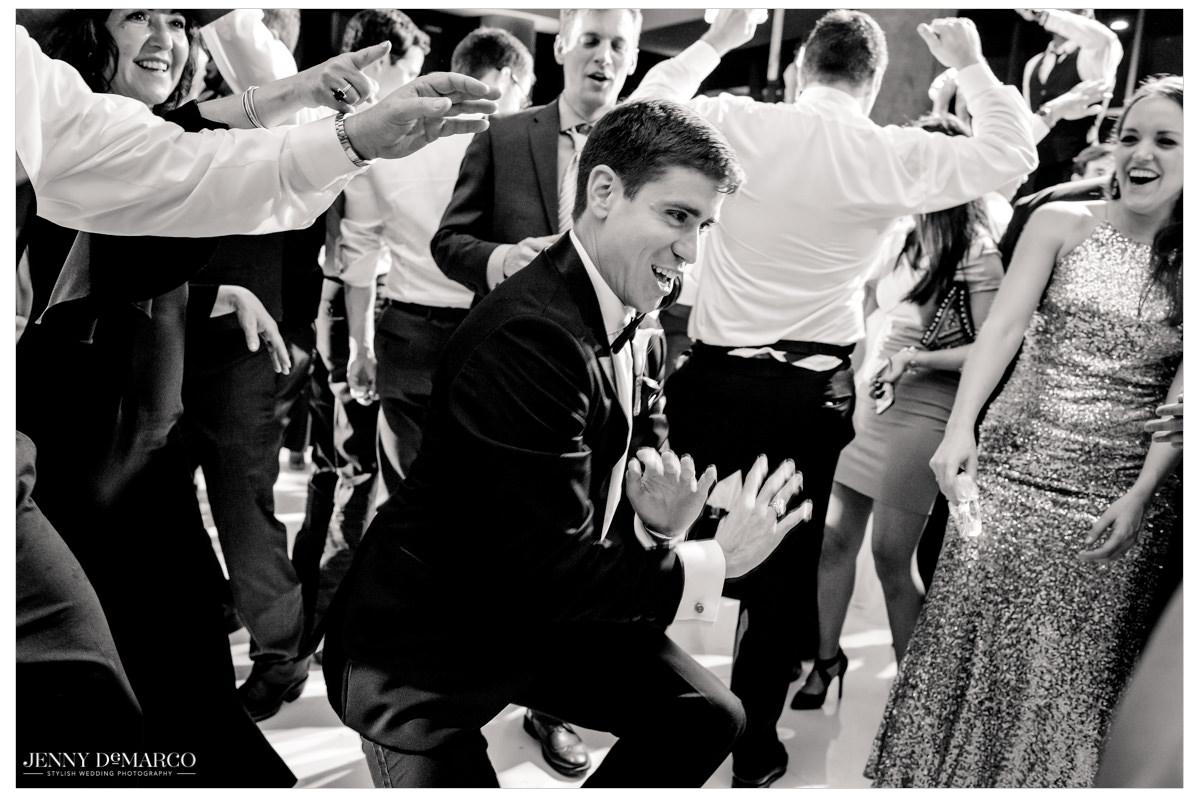 Grooms breaks it down on the dance floor.