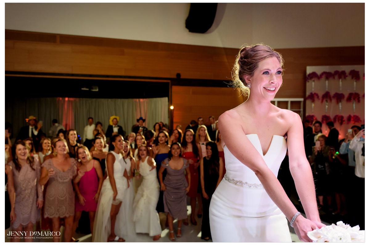 Bride throws her bouquet.