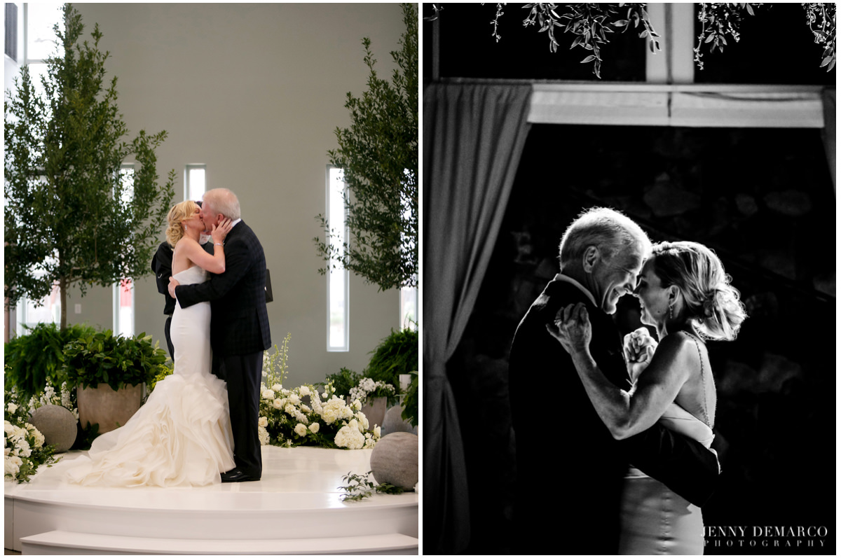 The older couple shares their first kiss and shares their first dance together.