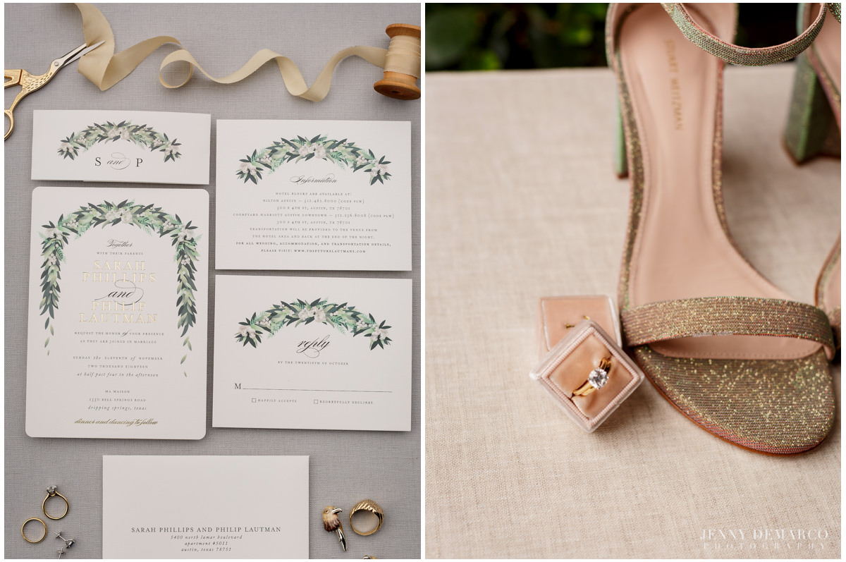 Detail photos of the brides gold sparkle heels and wedding invitations.