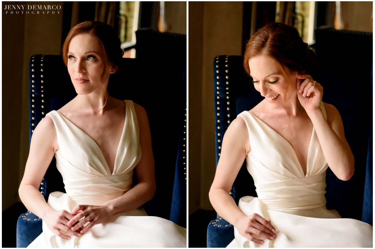 Portraits of the bride in her full wedding attire.