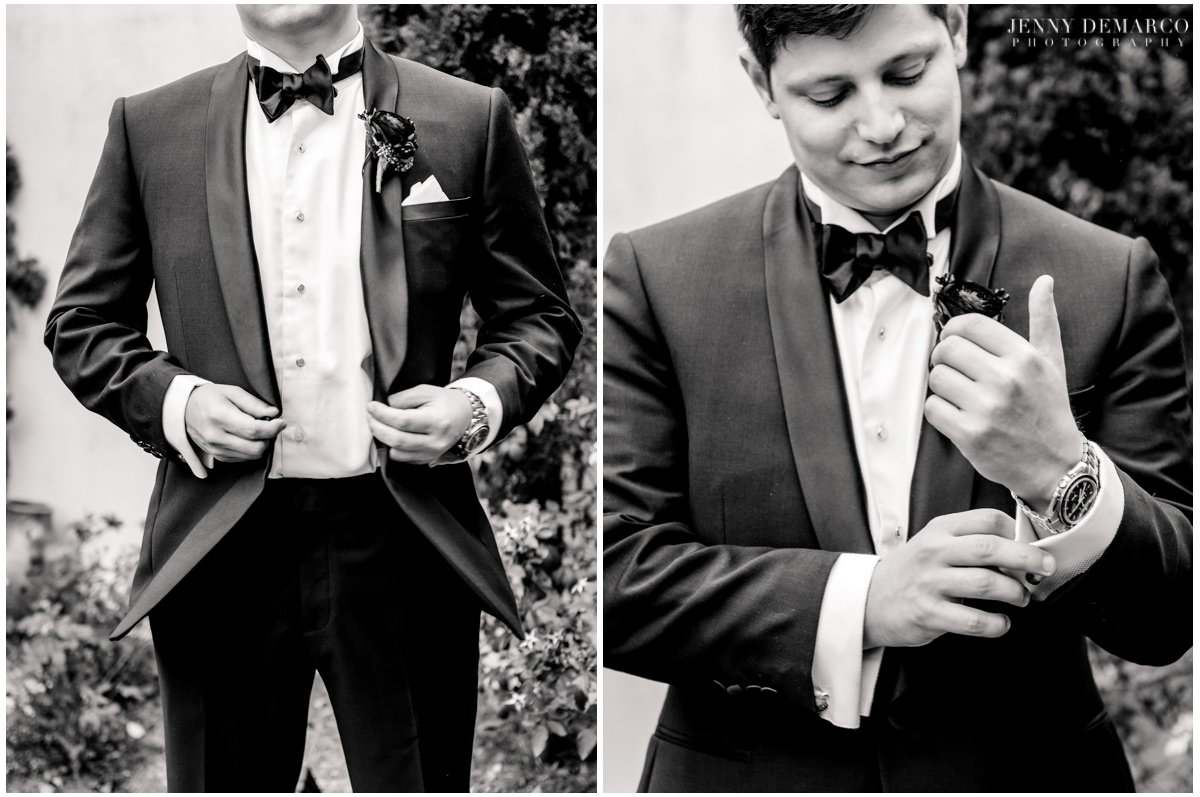 Portraits of the groom in his full wedding attire.