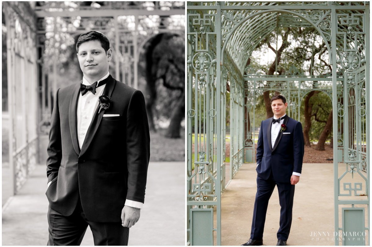 Portraits of the groom in his blue suit.