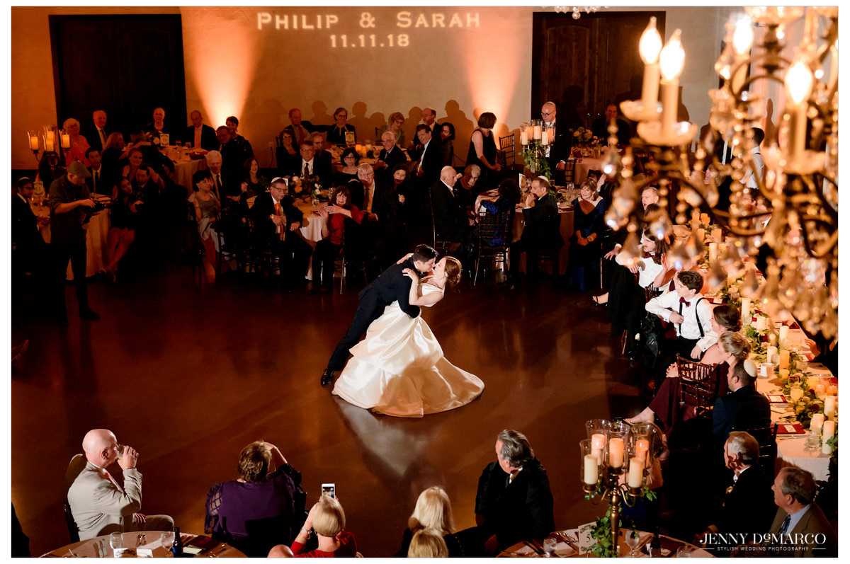 The couple shares their first dance.