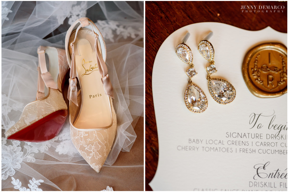 Detail photo of the bride's lace heels and diamond drop earrings.