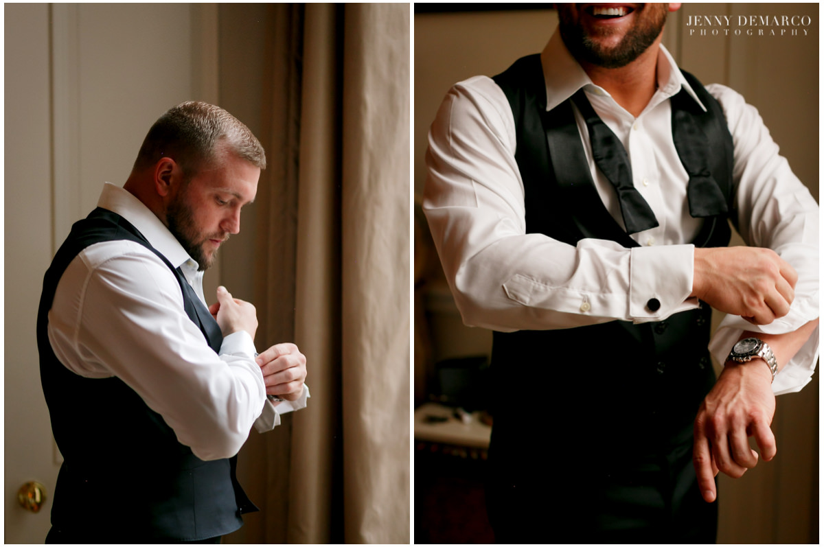 Groom putting on his tux.