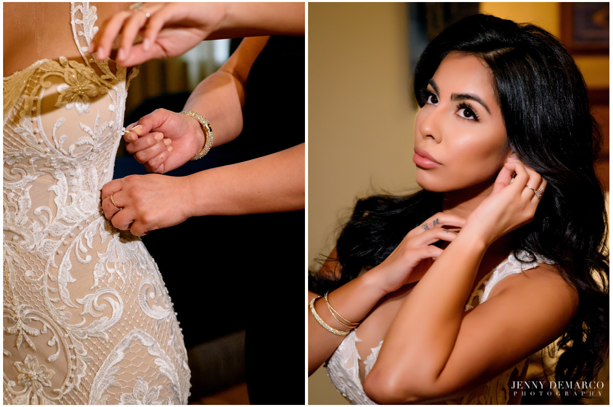 Bride adding the final touches to her wedding look.