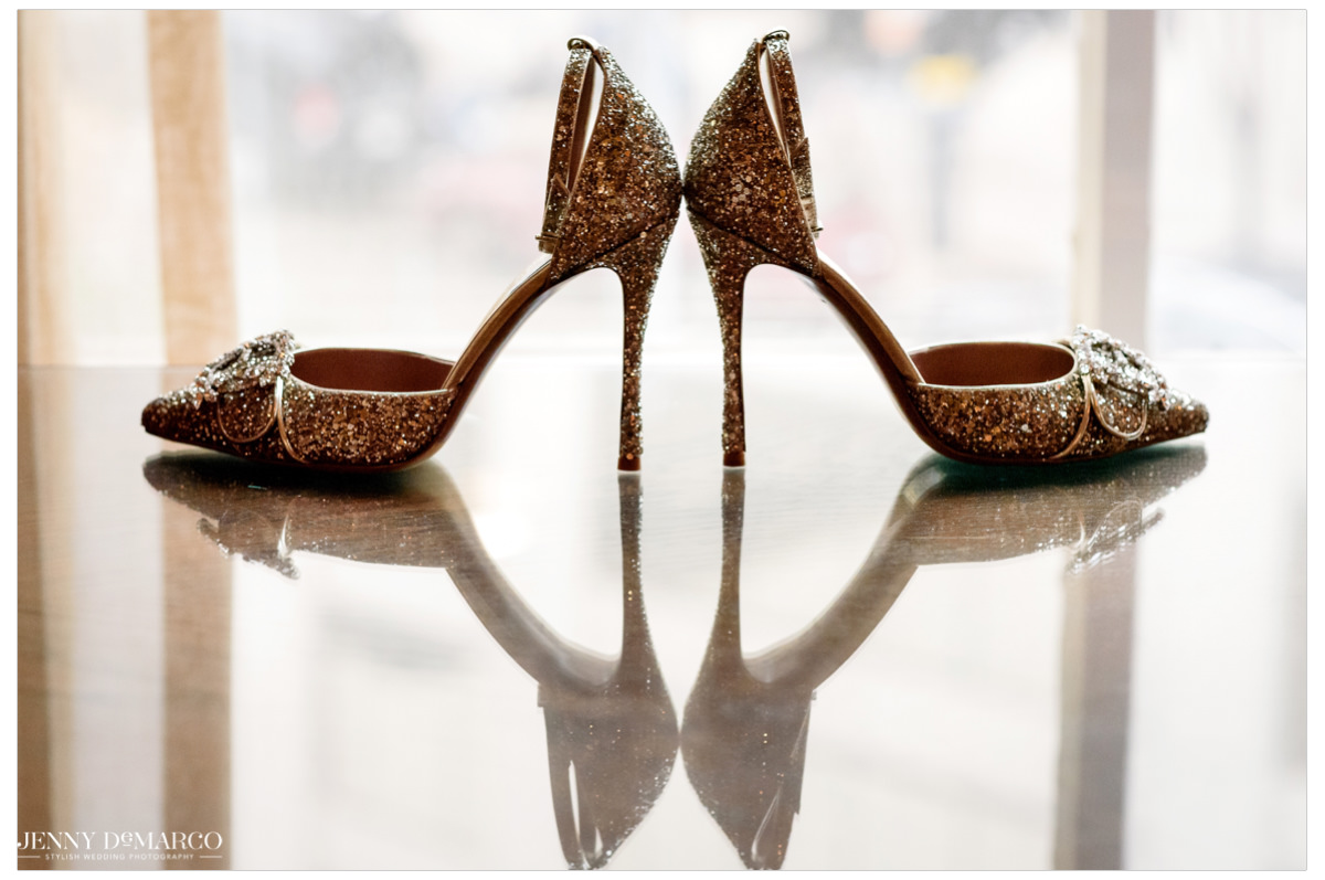 Detail shot of the bride's sparkly heels.
