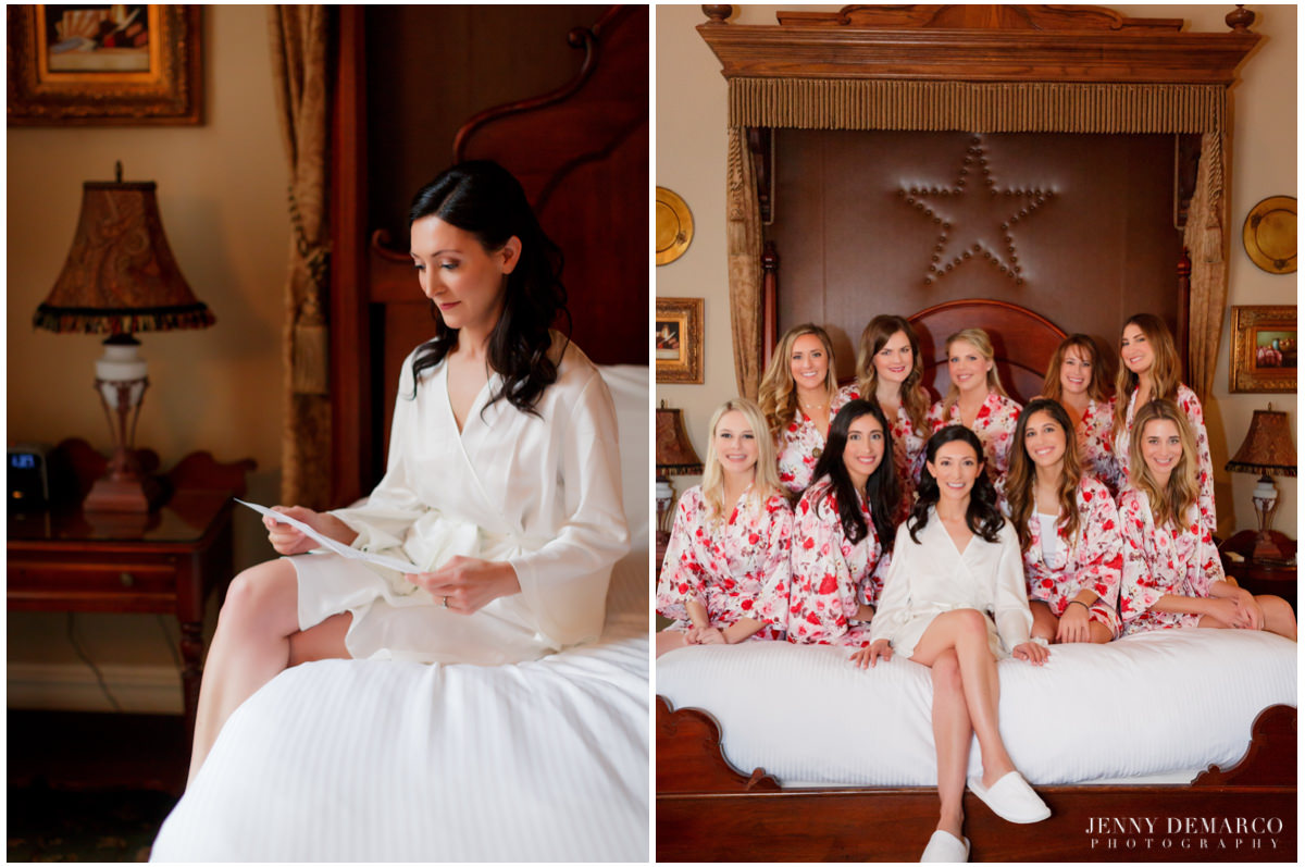 Bride reads a note as she gets ready with her bridesmaids.