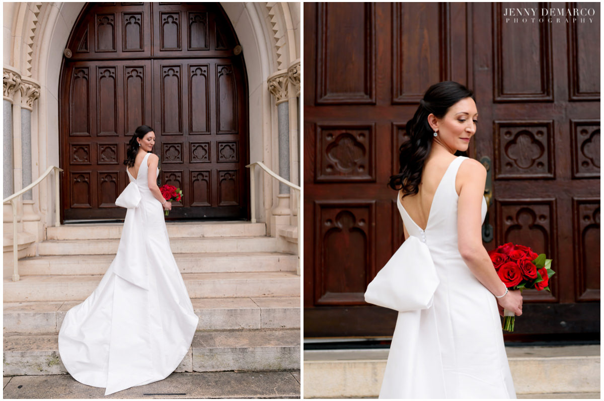 Portraits of the bride in front of St. Mary's Cathedral.