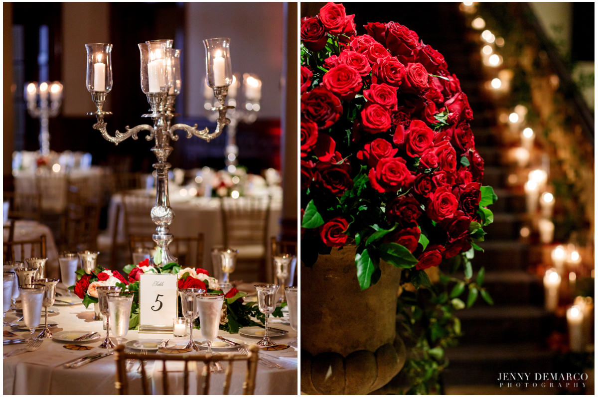 Detail photos of the reception's red roses and candlelight.