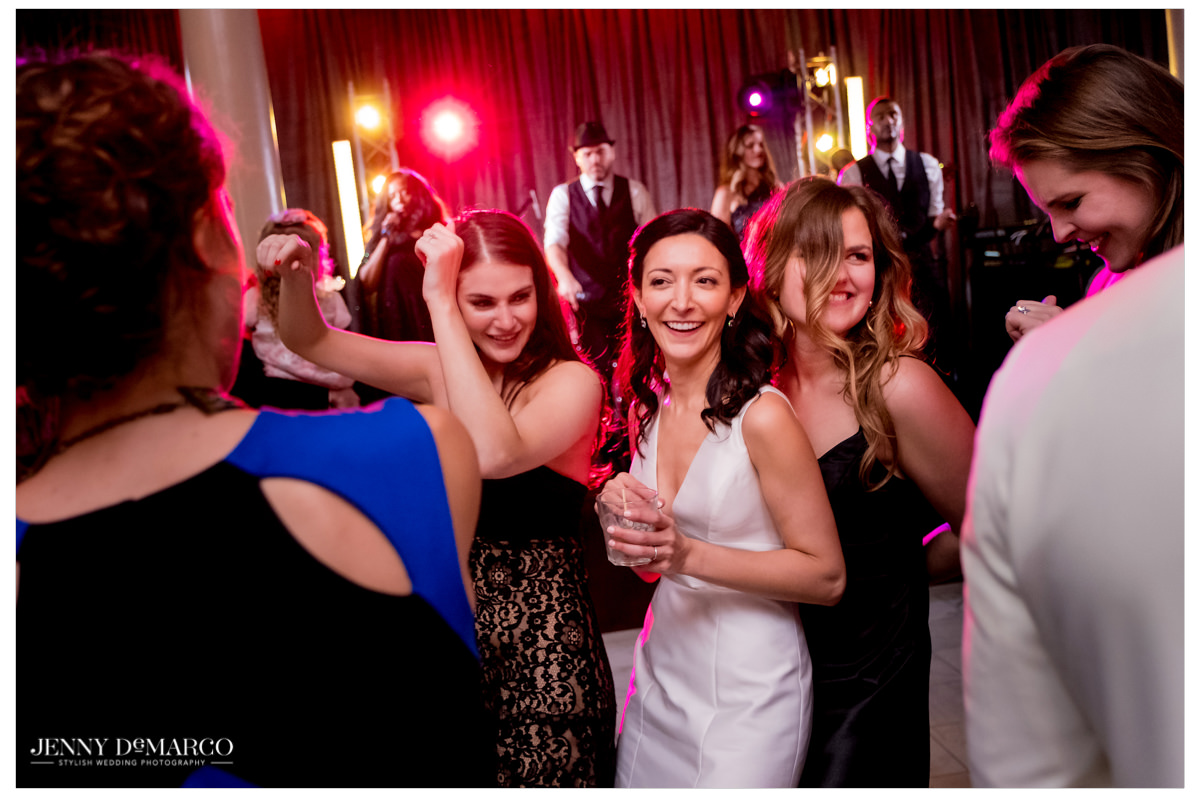Bride joins her guests on the dance floor.