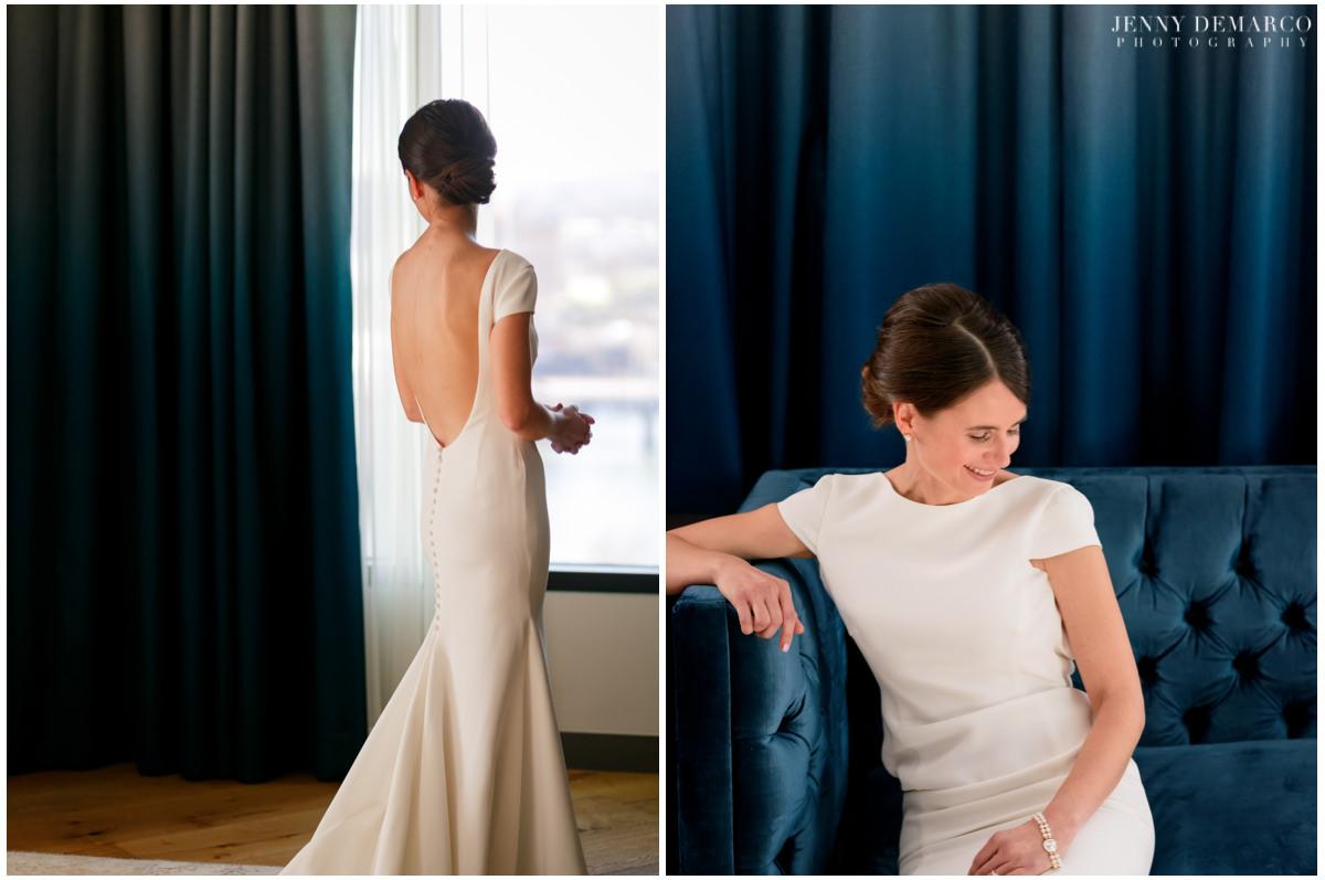 Bride poses for photos in her wedding attire.