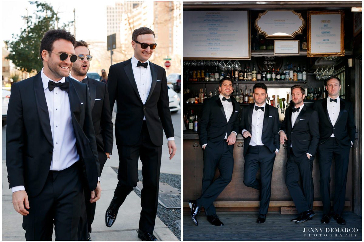 Groomsmen have a couple drinks waiting for the next move.
