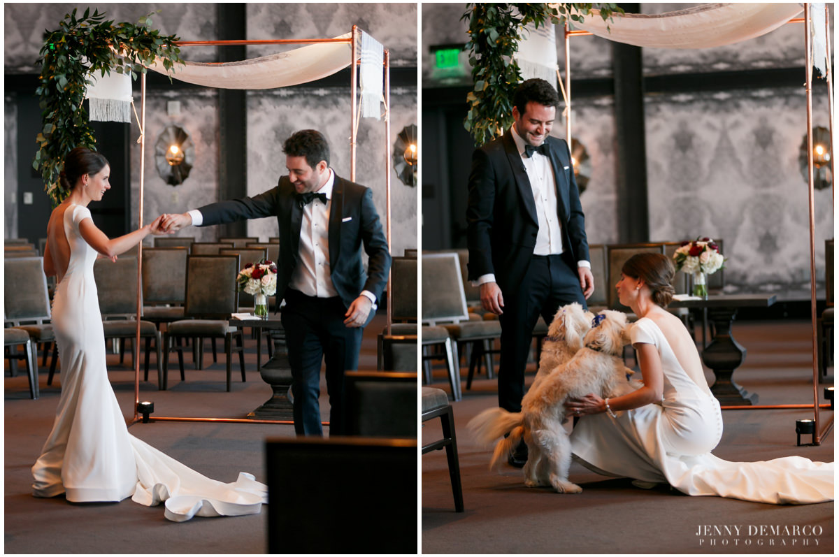 Bride and groom welcome their dogs.