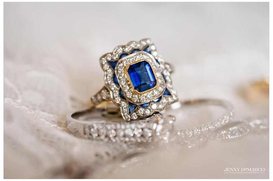 Bride's antique sapphire engagement ring