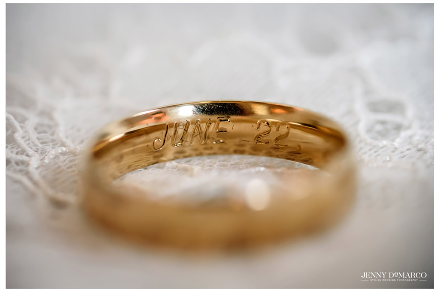 Groom's wedding band with inscprition