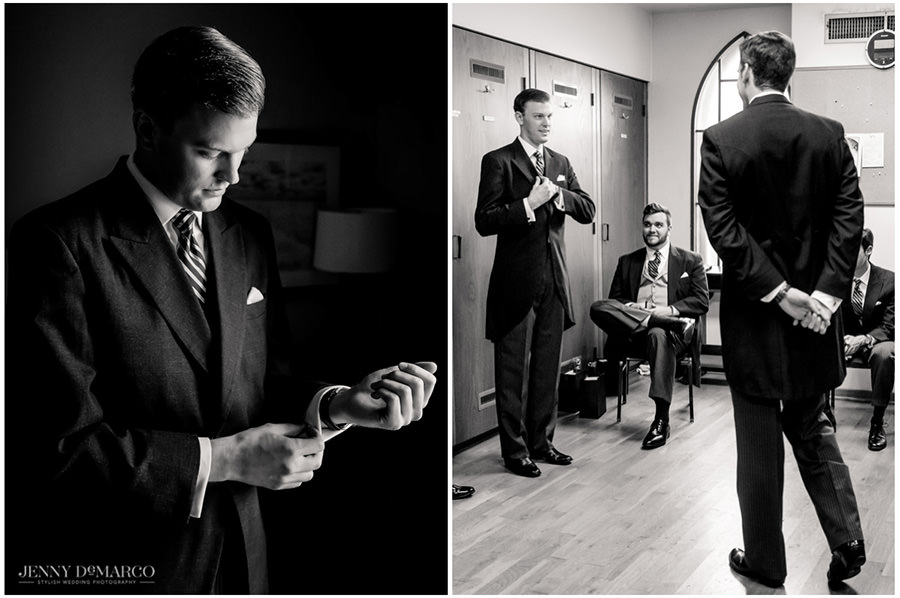 Groom getting ready and talking to his groomsman
