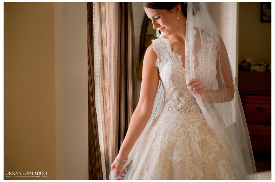 Bride in her lace wedding dress