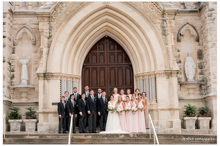 Wedding party in front of Saint Marys Cathedral in Austin, Texas