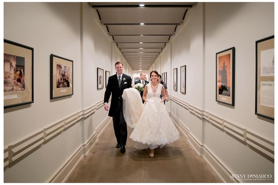 Bride and groom in Bob Bullock Museum