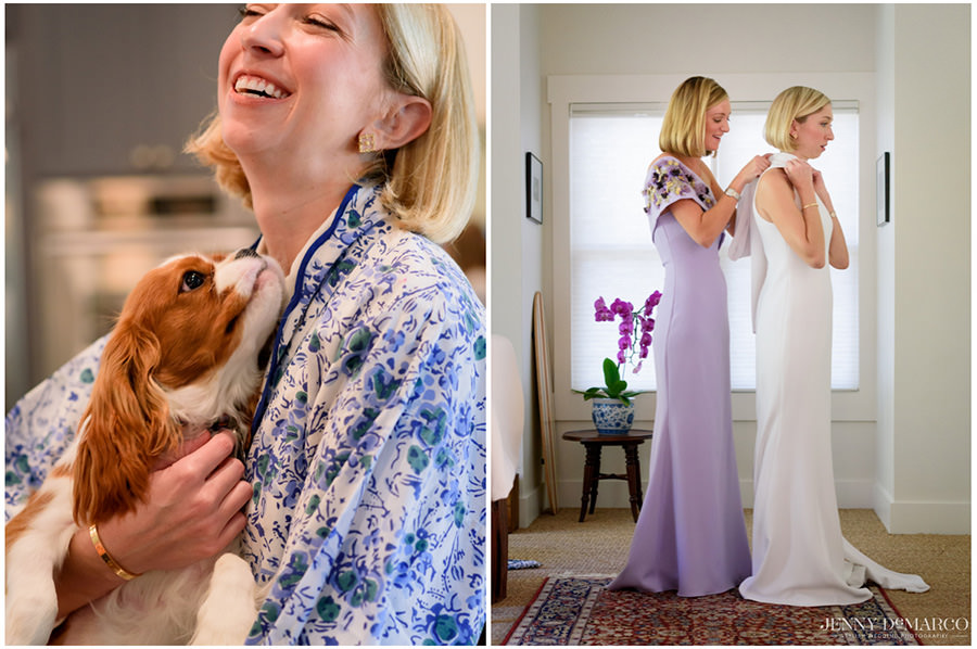 Bride throws her head back in laughter as her puppy nuzzles into her neck in her hotel room in downtown Austin.