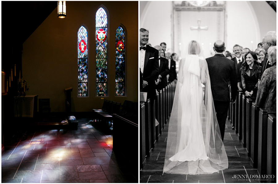 Light falls through the stain glass windows before the ceremony in the Episcopal Church of the Good Shepherd. The bride walks down the aisle with her father.
