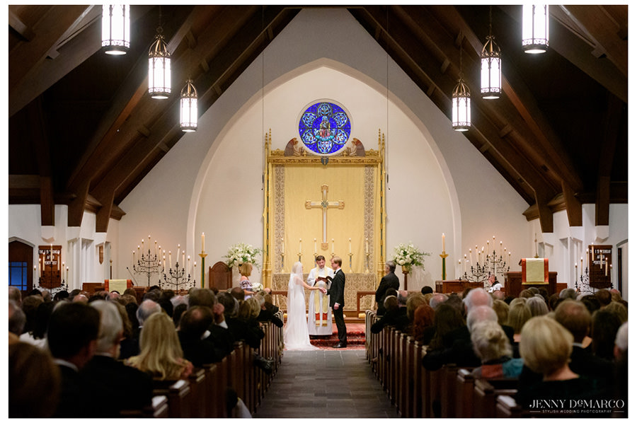Wide shot of the ceremony in the Episcopal Church of the Good Shepherd.