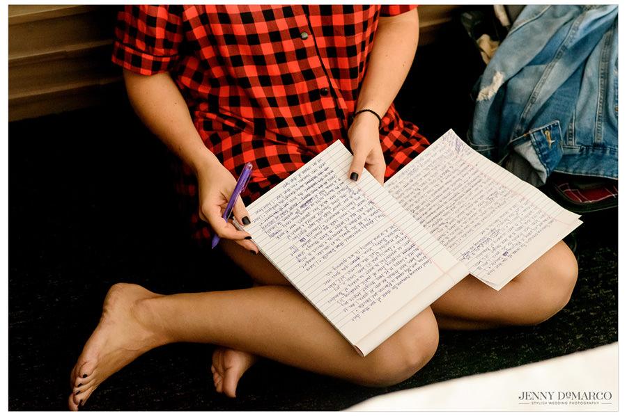 Maid of Honor writing her speech