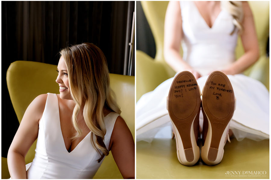 bottom of Bride's shoes with message from Groom