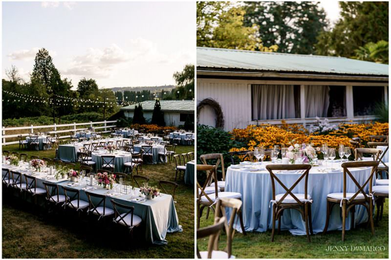 wedding reception decorated tables