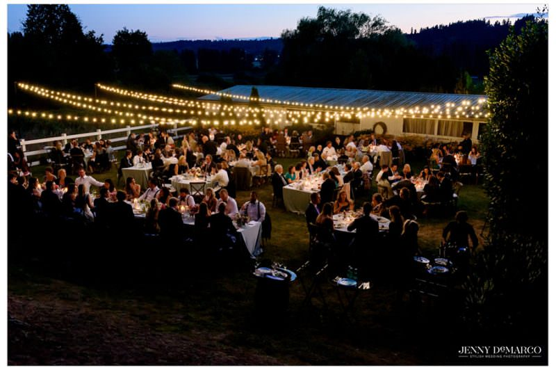 wedding reception with twinkle lights overhead and guests enjoying dinner