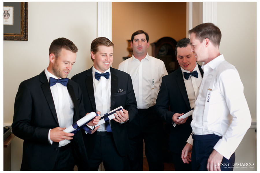 Groomsmen and groom getting ready