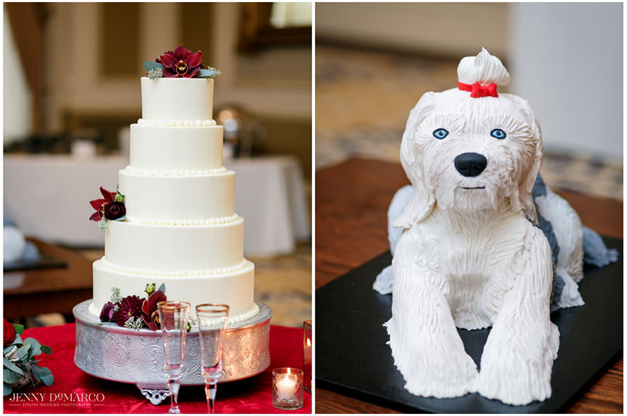 white wedding cake and dog cake