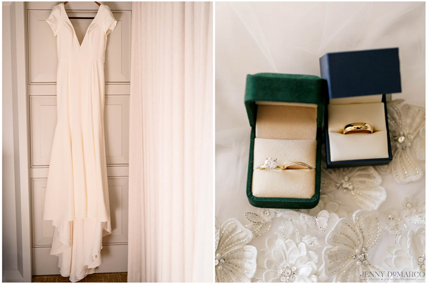 wedding dress and ring of bride and groom