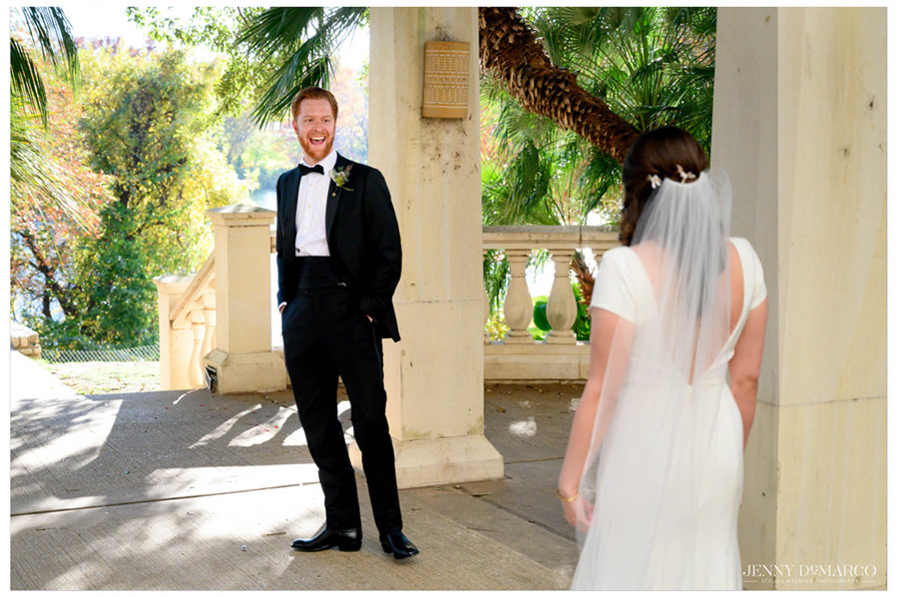 groom's first look at bride during the first look