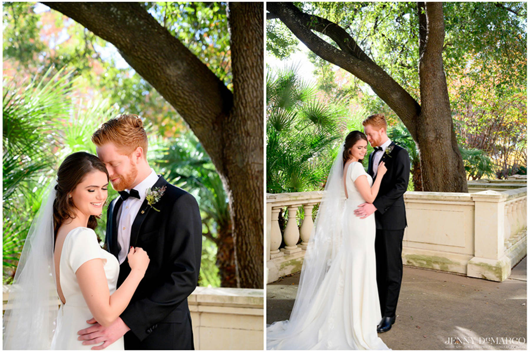 bride and groom pose before ceremony