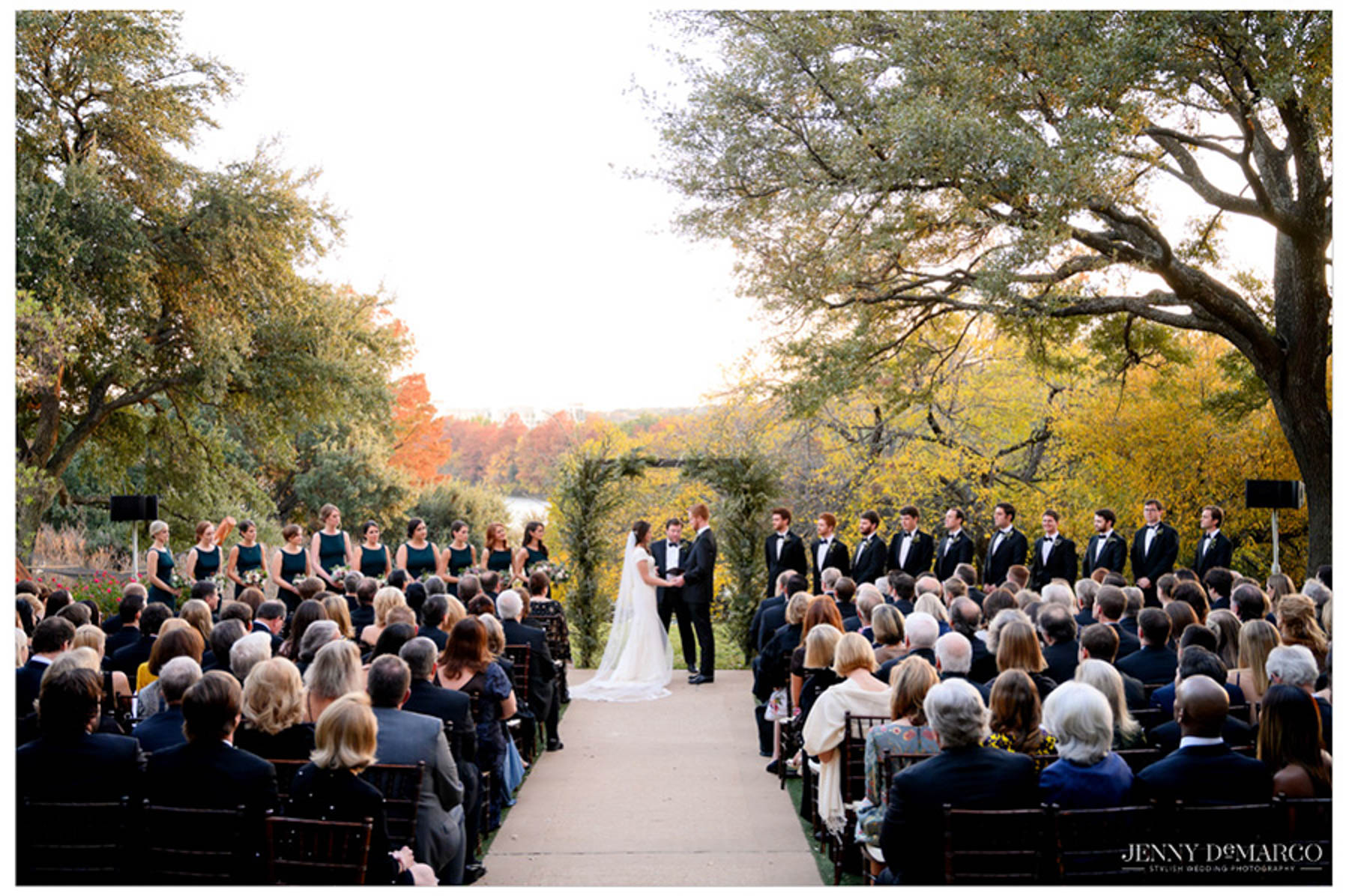 wide shot of ceremony venue outdoors