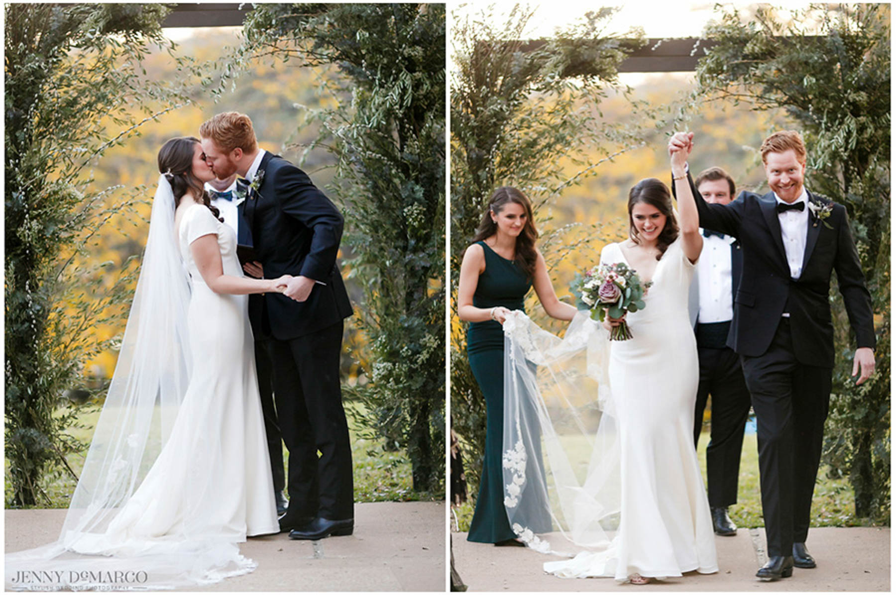 bride and groom first kiss, walk down the aisle holding hands in celebration