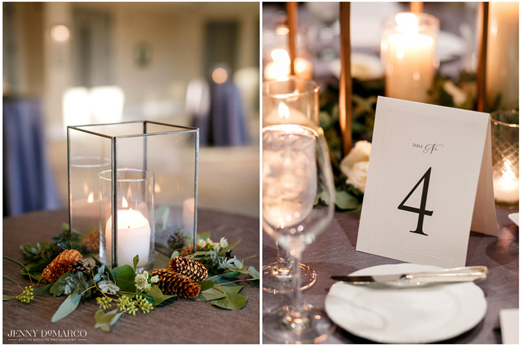 candle details and table numbers