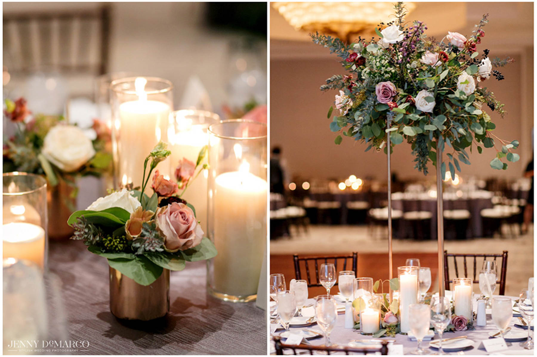 flowers surrounded by candles at reception venue