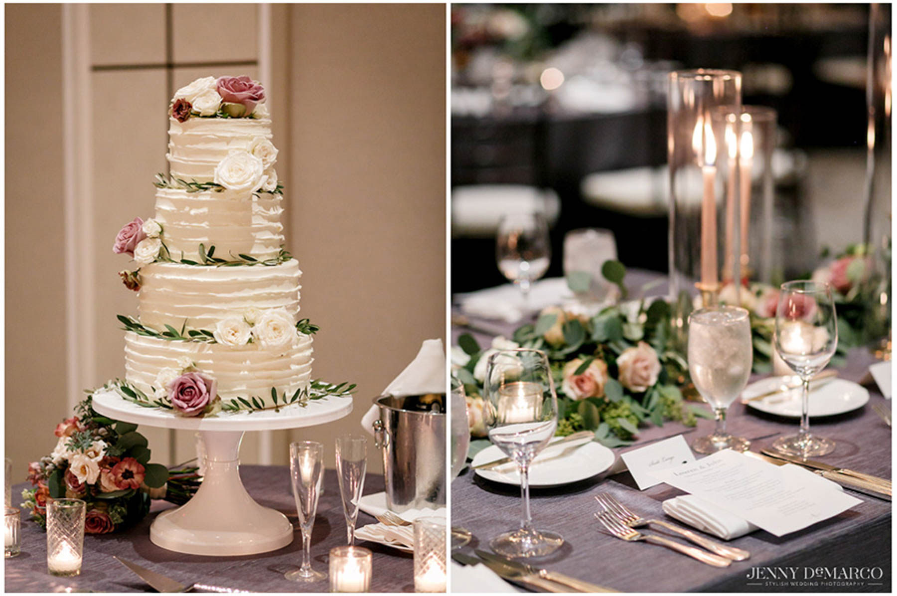 four tiered wedding cake and table setting with menu for guests