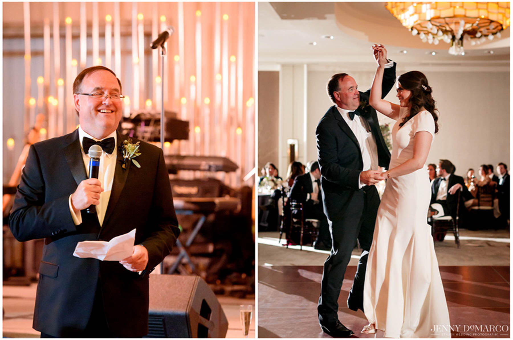 bride's father smiles during speech and twirls her on the dance floor