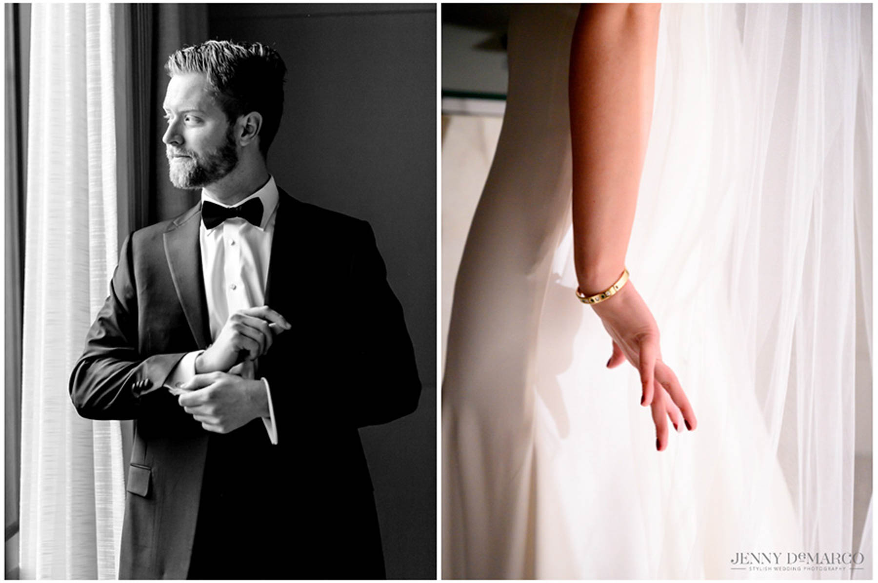 groom cuffs his sleeves and bride's hand as she puts on her dress.
