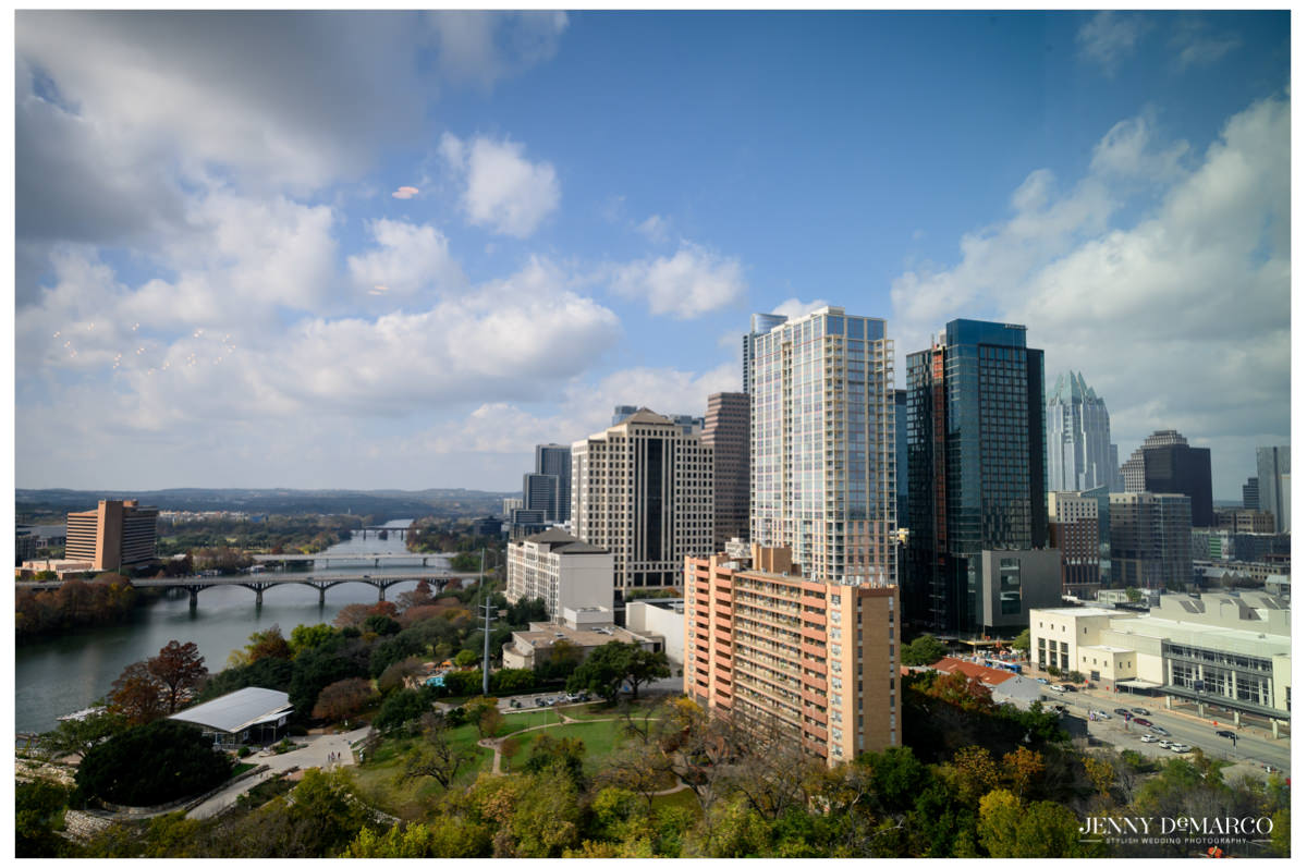 Downtown Austin skyline with pretty blue skies.