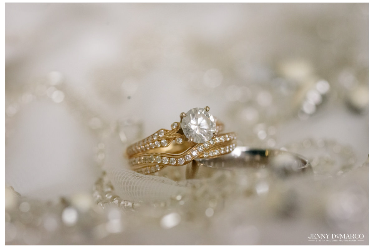 Diamond gold engagement ring and wedding band