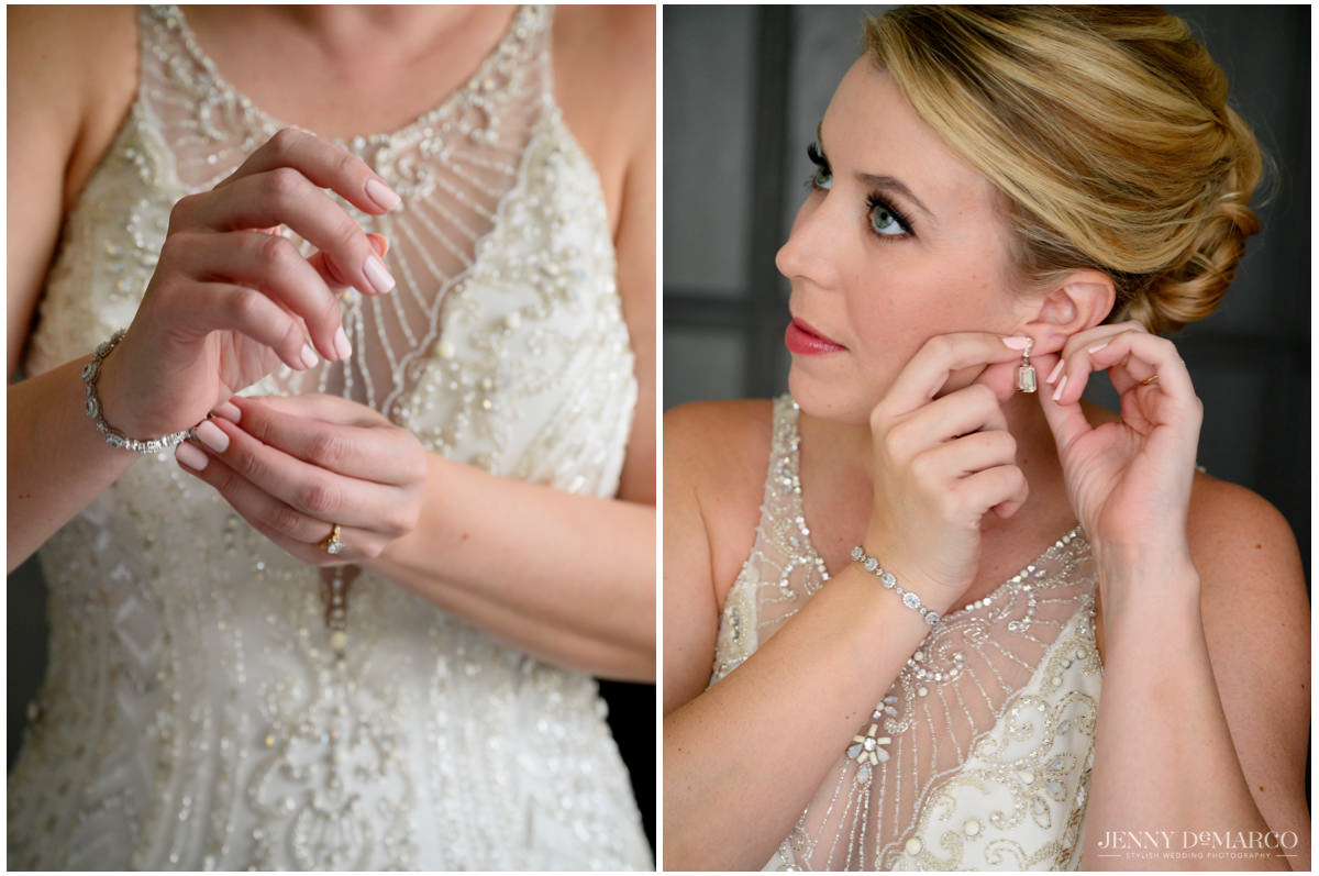 Bride putting on diamond bracelet and gold earrings that match the crystal beading on her dress