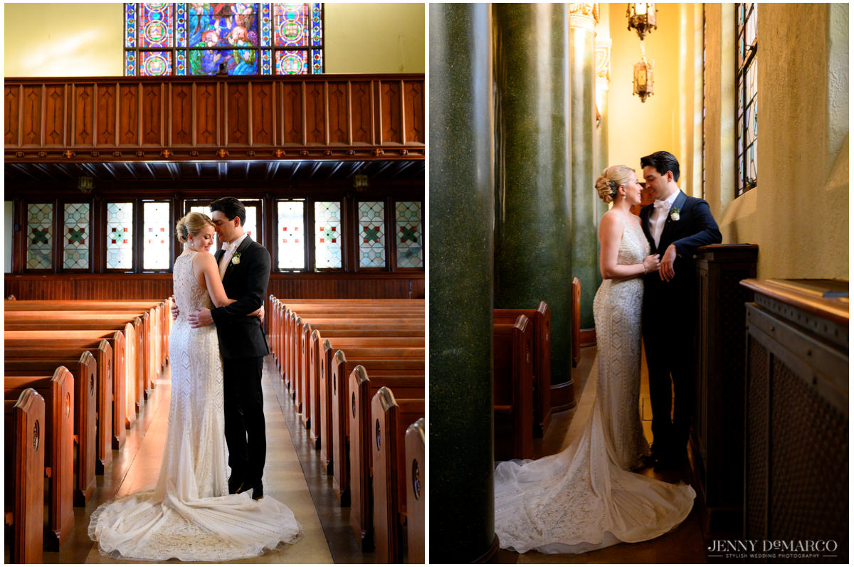 Brides train on display as she poses with her groom in central christian church